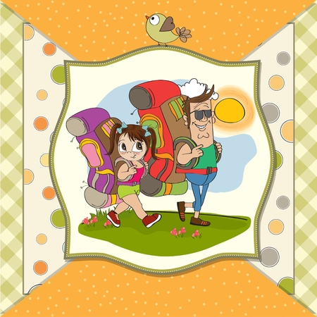 father and daughter tourist traveling with backpacks Stock Vector - 14056181