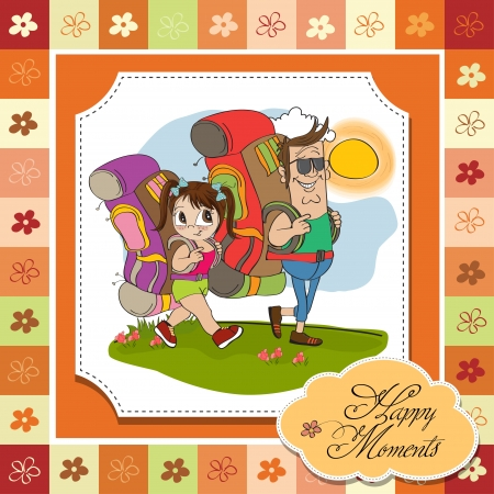 father and daughter tourist traveling with backpacks Stock Vector - 14056172