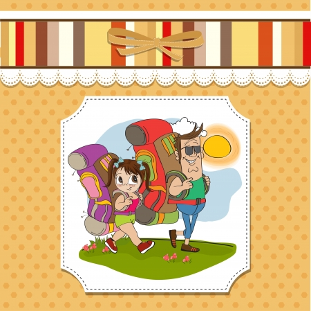 father and daughter tourist traveling with backpacks Stock Vector - 14056185