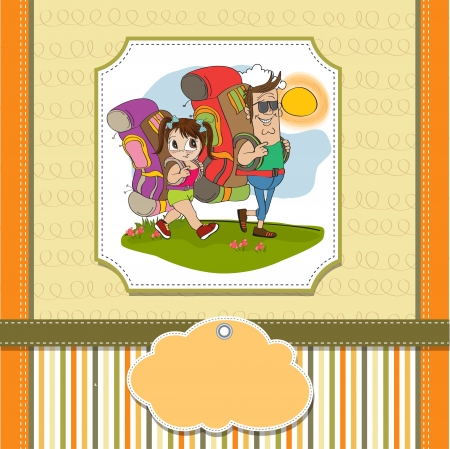 father and daughter tourist traveling with backpacks Stock Vector - 14056178
