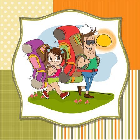 father and daughter tourist traveling with backpacks Stock Vector - 14056170