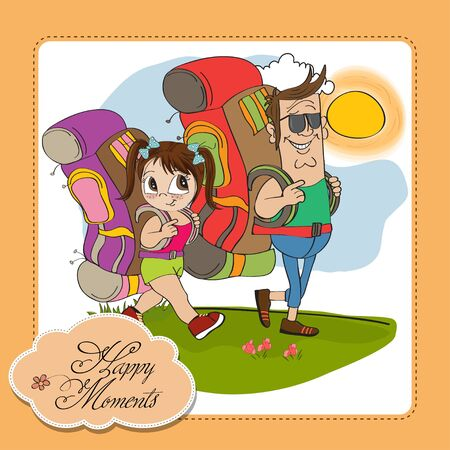 father and daughter tourist traveling with backpacks Stock Vector - 14056166