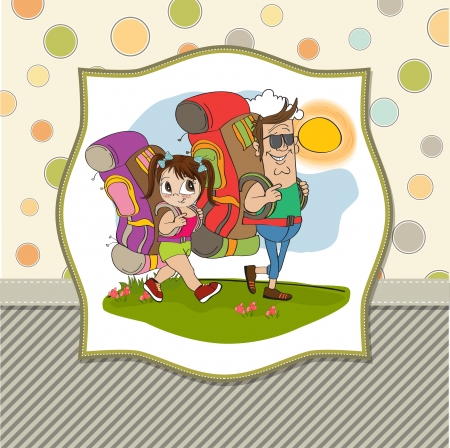 father and daughter tourist traveling with backpacks Stock Vector - 14056169
