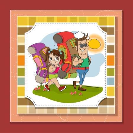 father and daughter tourist traveling with backpacks Stock Vector - 14056179