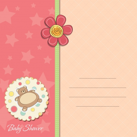 baby girl shower card with teddy Vector