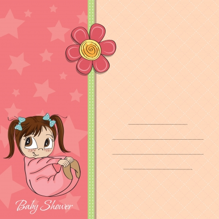 new baby girl announcement card with little girl Vector