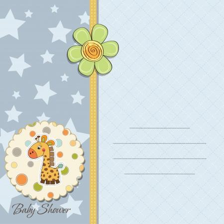 bebe azul: chico nuevo aviso del beb� tarjeta con la jirafa Vectores