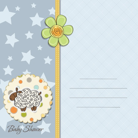 cute baby boy shower card with sheep