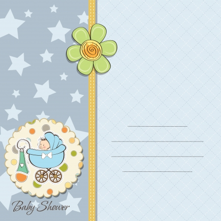 child birth: baby boy announcement card with baby and pram