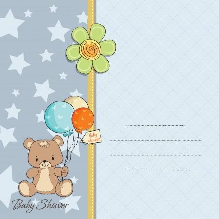 baby boy shower: baby boy shower card with cute teddy bear Illustration