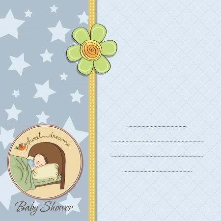baby boy shower card with cute teddy bear Stock Vector - 14169130