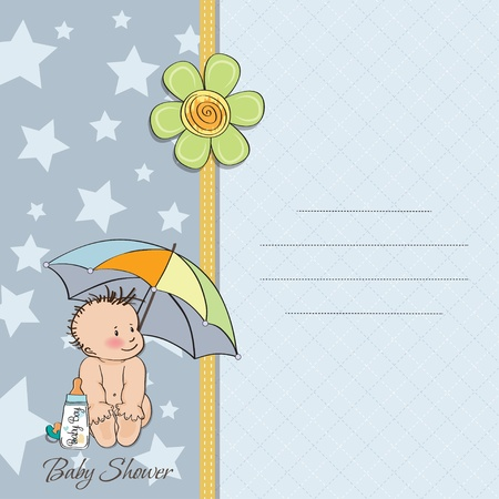 baby boy shower card with funny baby under his umbrella Stock Vector - 14169133