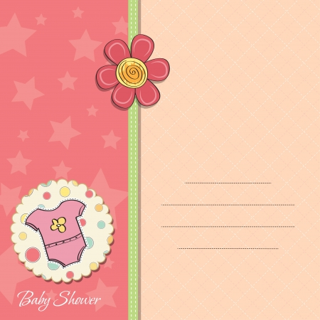 baby illustration: new baby girl announcement card