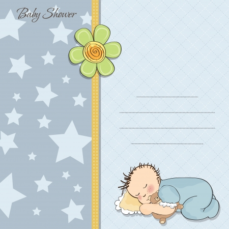 baby shower card with little baby boy sleep with his teddy bear toy Vector