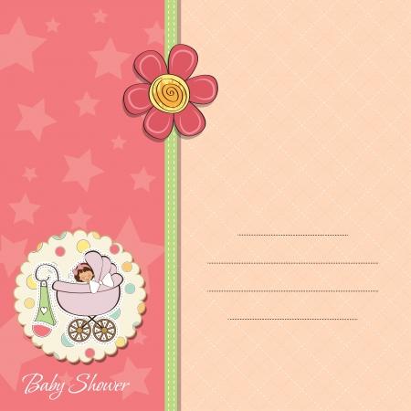 invitacion baby shower: aviso de la ni�a tarjetas Vectores