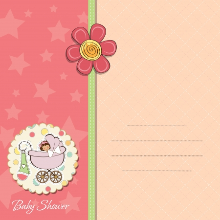 baby girl announcement card Stock Vector - 14169145