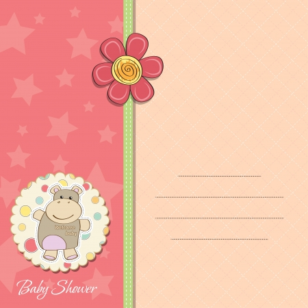 new baby girl announcement card with hippo