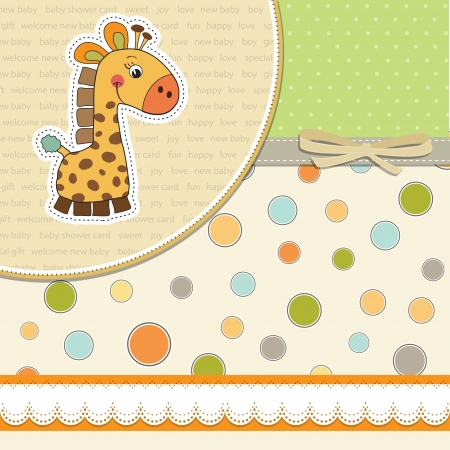 cute baby girls: new baby announcement card with giraffe