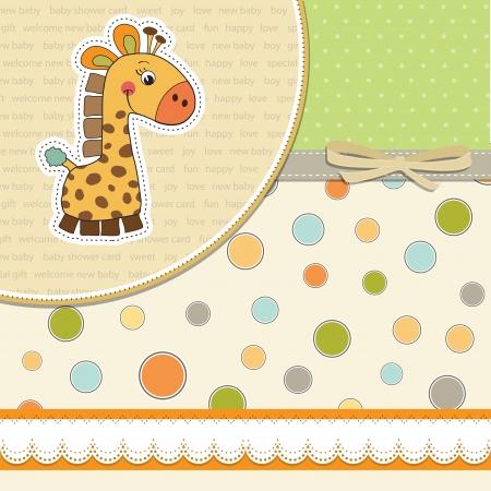 invitacion baby shower: nuevo beb� anuncio de la tarjeta con la jirafa