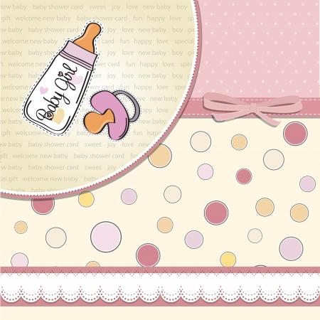 new baby girl announcement card with milk bottle and pacifier Stock Vector - 14206485