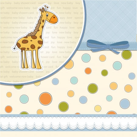 baby background: new baby announcement card with giraffe