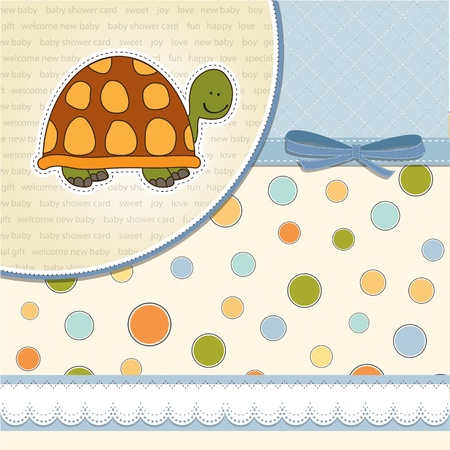 baby turtle: funny baby boy announcement card