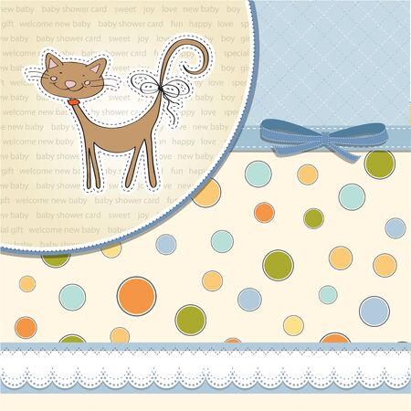 new baby shower card with cat Illustration