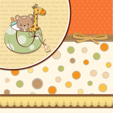 new baby announcement card with bag and same toys Stock Vector - 14206488