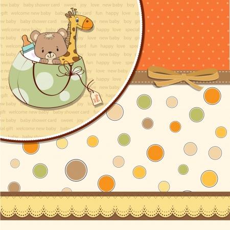 happy birthday baby: nuevo beb� anuncio de la tarjeta con el bolso y los juguetes mismos