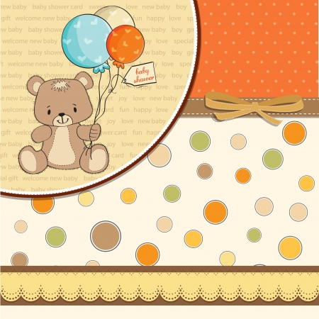 specifically: baby shower card with cute teddy bear
