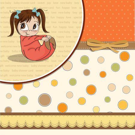 little girl sitting: new baby girl announcement card with little girl Illustration