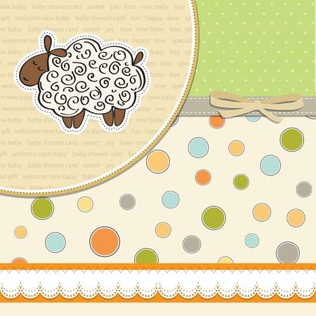 lindo bebé tarjeta de ducha con ovejas