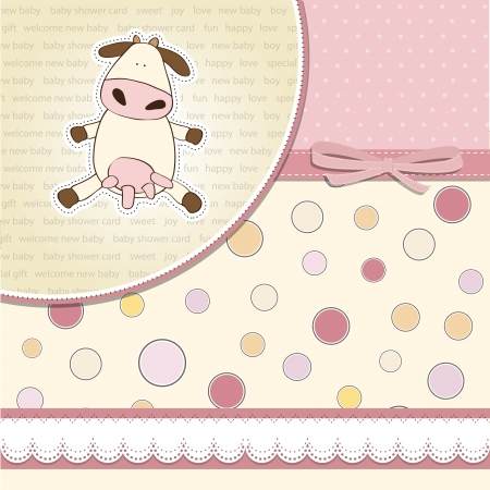 new baby girl announcement card with cow Illustration