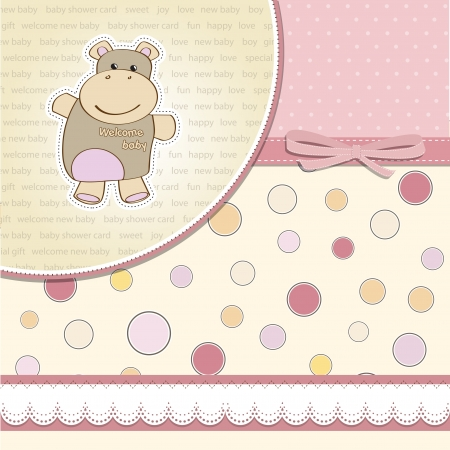 childish baby girl announcement card with hippo toy Stock Vector - 14206241