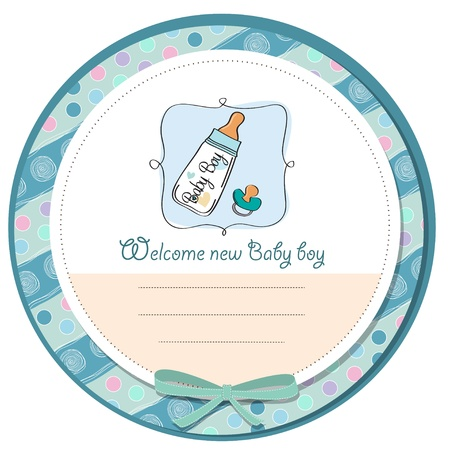 announcement icon: baby announcement card with milk bottle and pacifier