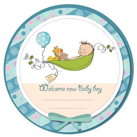 baby sleep: little boy sleeping in a pea been, baby announcement card