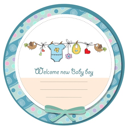 hanging girl: baby boy shower card