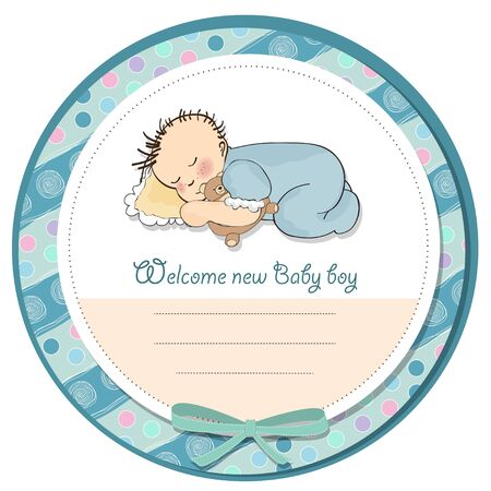 baby boy shower card with little baby