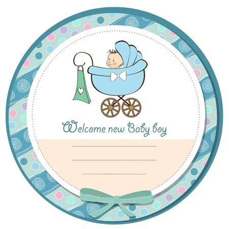 baby boy announcement card with baby and pram Stock Vector - 14205982