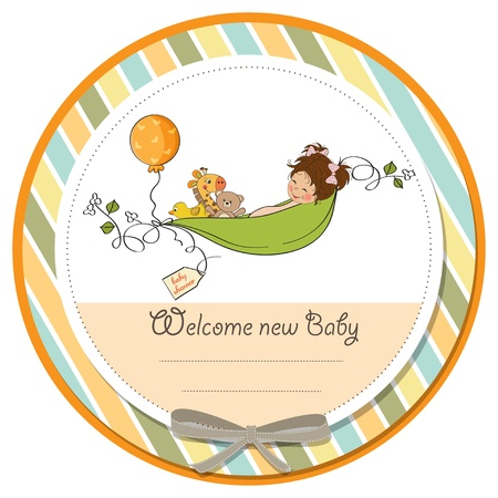 baby announcement card: little girl siting in a pea been  baby announcement card