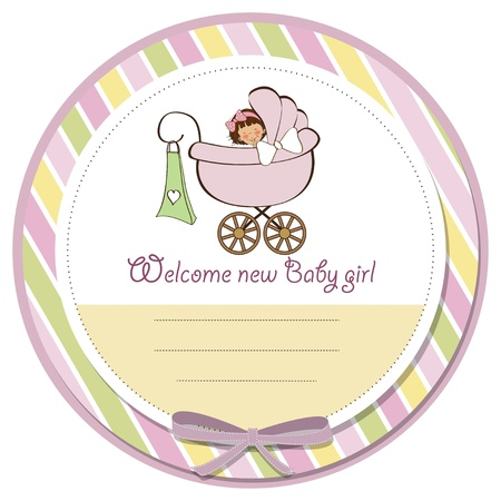 nestling: new baby girl announcement card