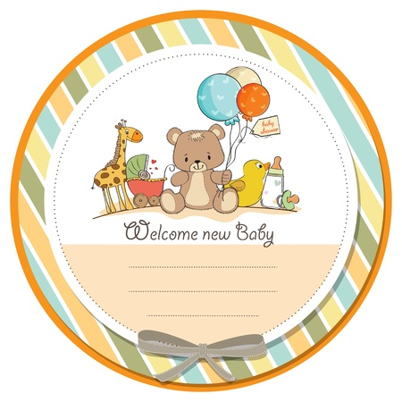 cute baby girls: baby shower card with toys
