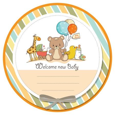 Tarjeta de Baby Shower con los juguetes Ilustración de vector
