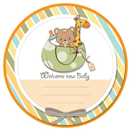 specifically: new baby announcement card with bag and same toys