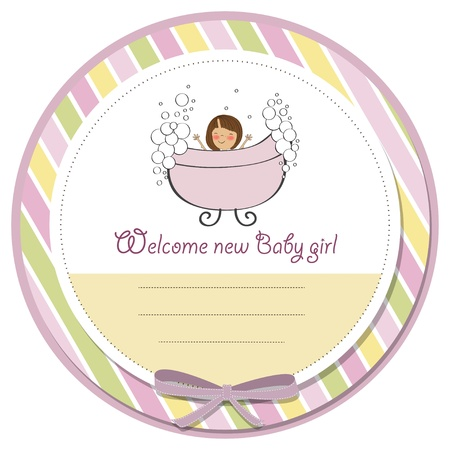 romantic baby girl shower card Stock Vector - 14196768
