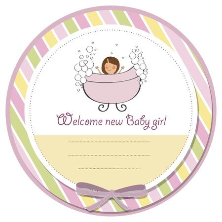 romantic baby girl shower card Stock Vector - 14196768