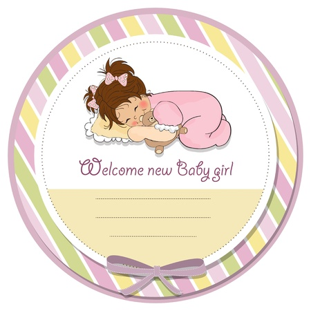 moments: baby shower card with little baby girl play with her teddy bear toy Illustration