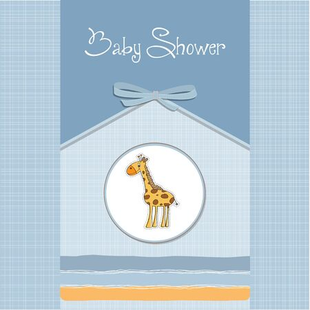 new baby announcement card with giraffe Stock Vector - 14206136