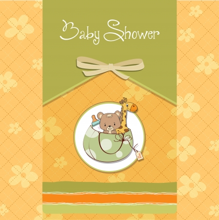 new baby announcement card with bag and same toys Vector