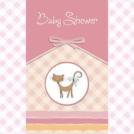 new baby shower card with cat Vector
